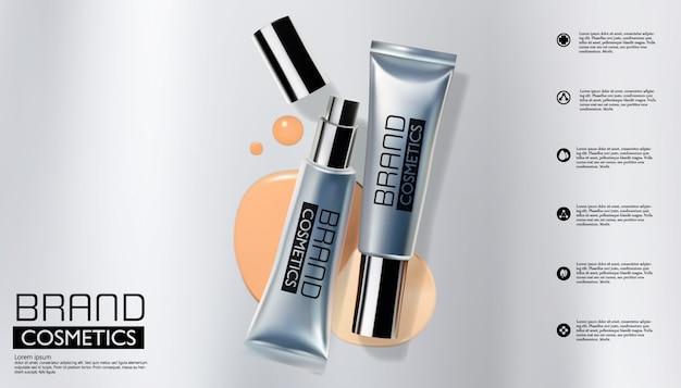 Zilveren kosmetische fles op zilver, verpakkend malplaatje, realistisch ontwerp, vectorillustratie