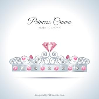 Zilveren kronen met diamanten in realistische stijl