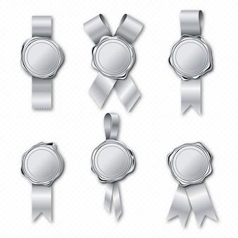 Zilveren lakzegelstempels met linten
