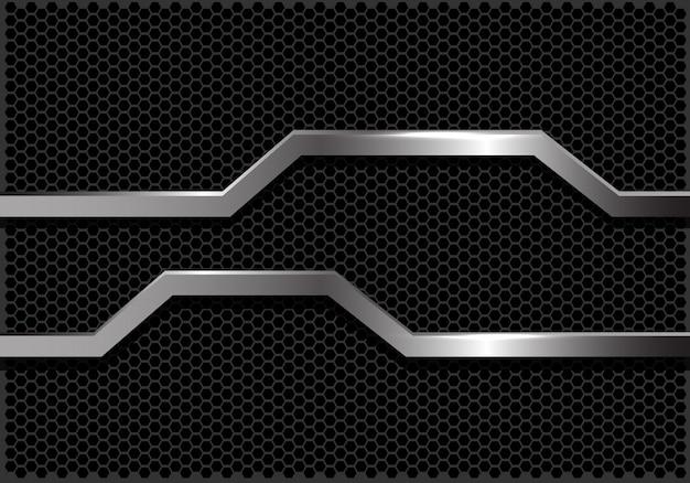 Zilveren lijn banner donker zeshoek mesh achtergrond.