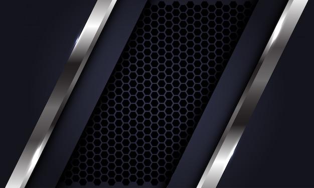 Zilveren lijn donkergrijs op zeshoek mesh luxe futuristische achtergrond.