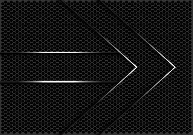 Zilveren lijnen pijl richting donkere zeshoek mesh achtergrond.