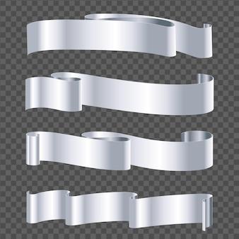 Zilveren lint geïsoleerd op transparante achtergrond
