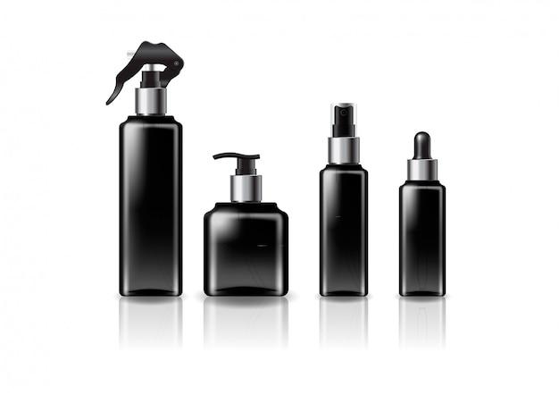 Zilveren maten zwarte vierkante cosmetische fles sjabloon.