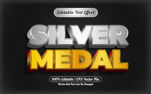 Zilveren medaille bewerkbare teksteffect sjabloonstijl