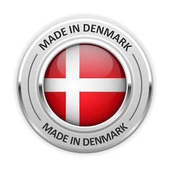 Zilveren medaille made in denmark met vlag