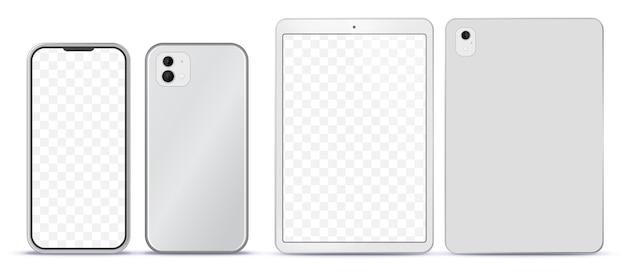 Zilveren mobiele telefoon en tabletcomputer