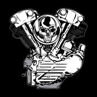 Zilveren motor met schedel