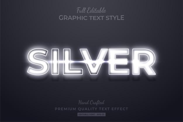 Zilveren neon bewerkbare 3d-tekststijleffect premium