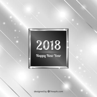 Zilveren nieuwe jaar 2018 achtergrond