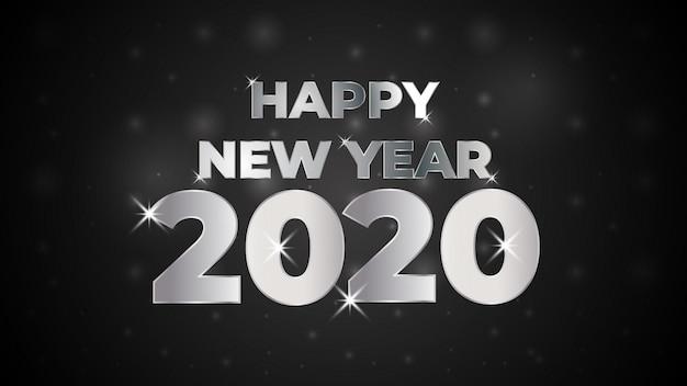 Zilveren nieuwe jaar 2020 achtergrond met gloeiende stippen licht witte bubbels