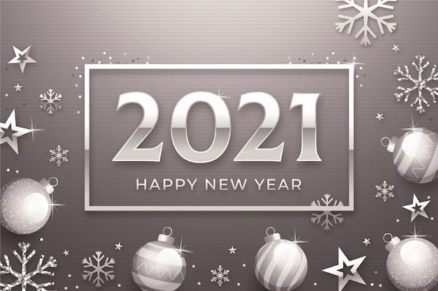 Zilveren nieuwe jaar 2021 achtergrond