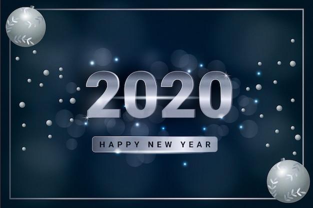 Zilveren nieuwjaar 2020 achtergrondconcept
