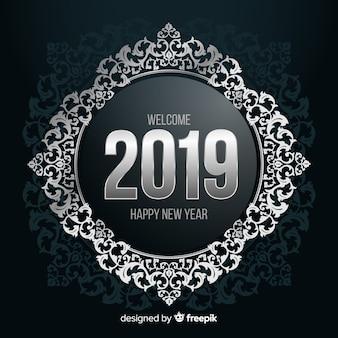 Zilveren nummer nieuwe jaar achtergrond