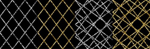 Zilveren pailletten naadloze patronen instellen luxe retro achtergrond