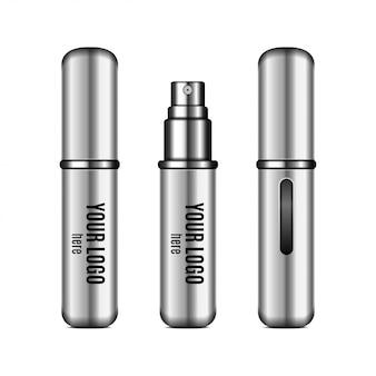 Zilveren parfumverstuiver. realistische compacte spuitkoffer voor geur met plaats voor uw logo. gesloten en open verpakking