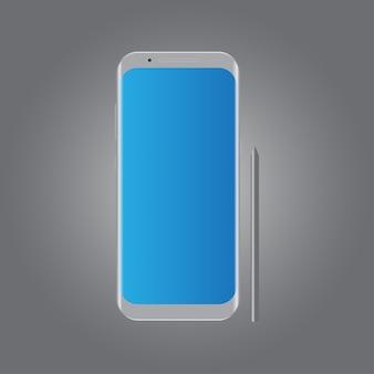 Zilveren realistische smartphone mockup sjabloon