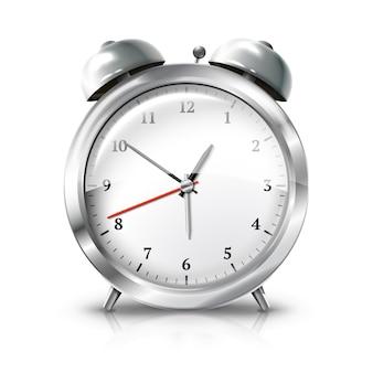 Zilveren retro geïsoleerde wekker