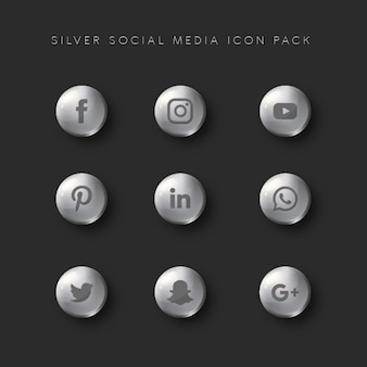 Zilveren social media icon pack