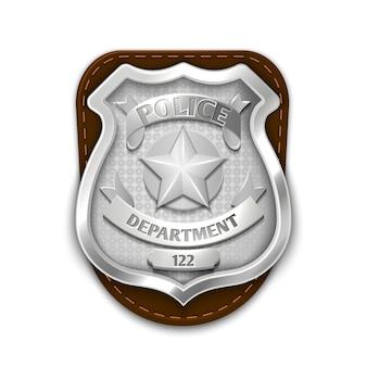 Zilveren staalpolitie, veiligheidskenteken dat op witte vectorillustratie wordt geïsoleerd als achtergrond. embleem voor zij