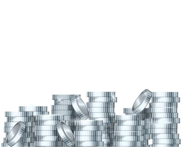 Zilveren stapel munten stapel en munt met ster op de top. illustratie stapel