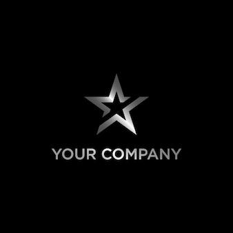 Zilveren ster logo of logo sjabloonontwerp op moderne stijl
