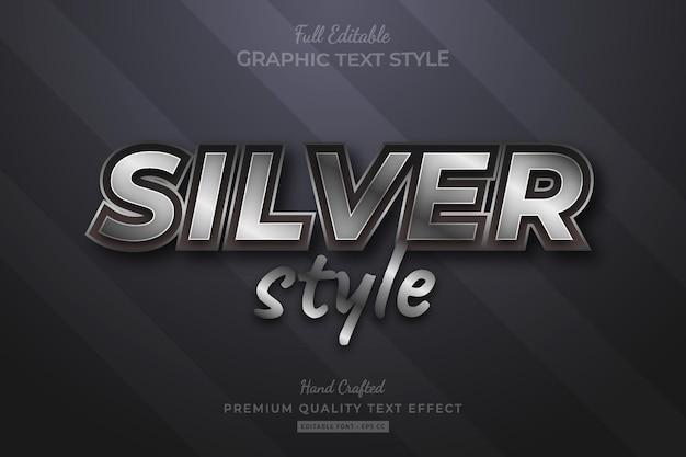 Zilveren stijl bewerkbare premium teksteffect lettertypestijl