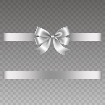 Zilveren strik en lint vectorstrik met lint voor kerst- en verjaardagsversieringen
