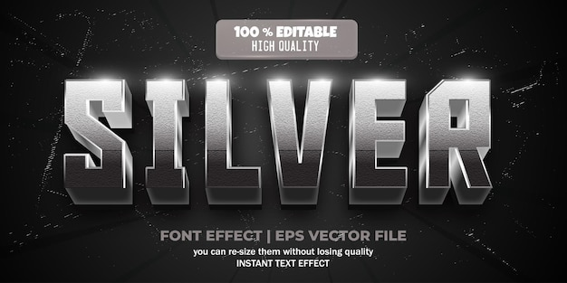 Zilveren teksteffect bewerkbare glanzende en elegante tekststijl