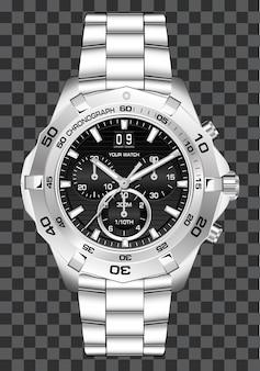 Zilveren wijzerplaat chronograaf luxe achtergrond.