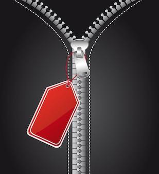 Zilveren zip met rode tag achtergrond vectorillustratie