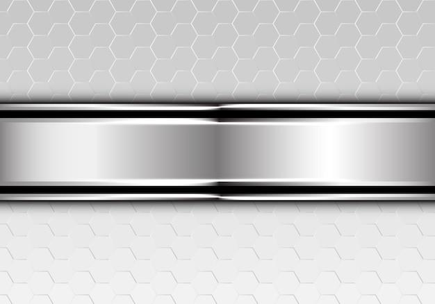 Zilveren zwarte lijnbanner op hexagon netwerkachtergrond.