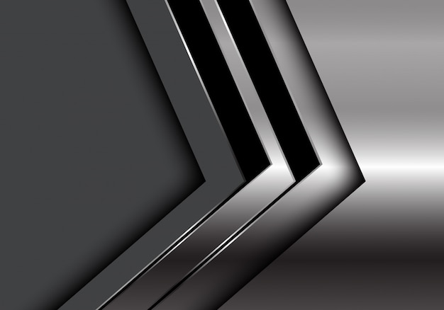 Zilveren zwarte pijlrichting donkergrijze achtergrond.