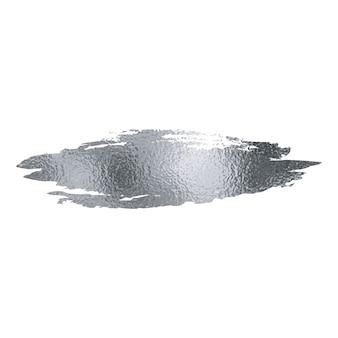 Zilverkleurige penseelstreek.