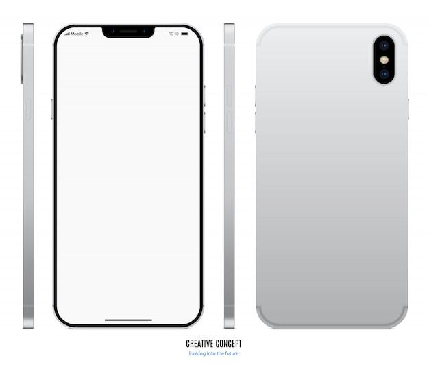 Zilverkleurige smartphone met leeg touchscreen voor, achter en zijaanzicht op wit.