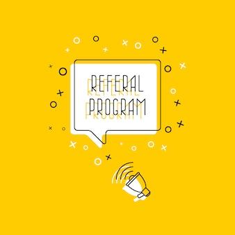 Zin 'verwijzingsprogramma' in tekstballon en megafoon op geel