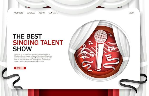 Zingen talentenjacht bestemmingspagina ontwerp website banner sjabloon vectorillustratie in papier kunst stal...