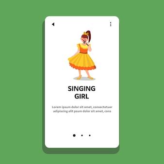 Zingend meisje in de karaokepartij van de microfoon