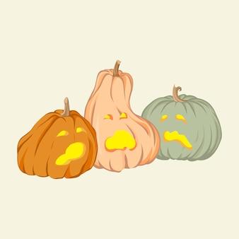 Zingende halloween-pompoenen hand getrokken vectorillustratie geïsoleerd op background