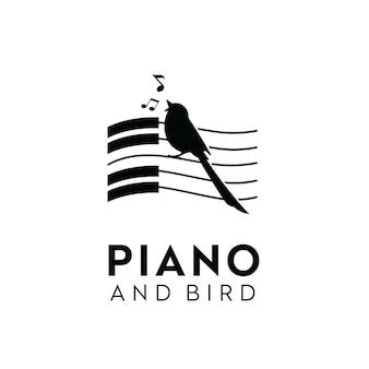 Zingende vogel pianomuziek sleutelnoten silhouet logo-ontwerpinspiratie