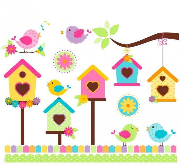 Zingende vogels in kleurrijke stijl