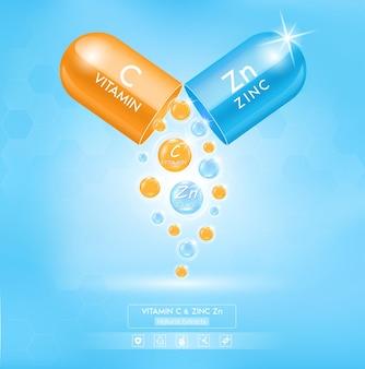 Zink zn blauw en oranje vitamine c met capsule-oplossing serum