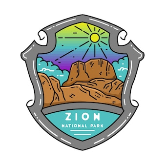 Zion national park monoline-badge