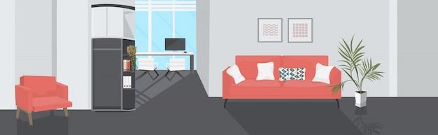 Zithoek met fauteuil en sofa moderne wachtkamer kantoor interieur schets