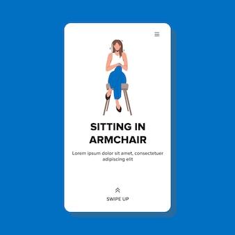 Zittend in fauteuil en ontspannende vrouw vector. mooi meisje zittend in een leunstoel en rusten. karakter lady ontspanning vrije tijd op comfortabele stoel web platte cartoon illustratie