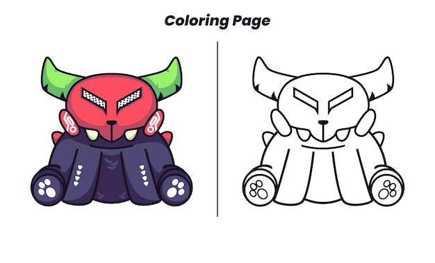 Zittend monster draagt een masker met kleurplaat