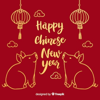 Zittend varken Chinees Nieuwjaar achtergrond