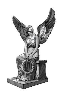 Zittende biddende engel meisje sculptuur met vleugels en krans. zwart-wit afbeelding van het standbeeld van een engel. geïsoleerd.