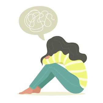Zittende jonge vrouw, tienermeisje, die lijdt aan psychische ziekte, stoornis, angst.