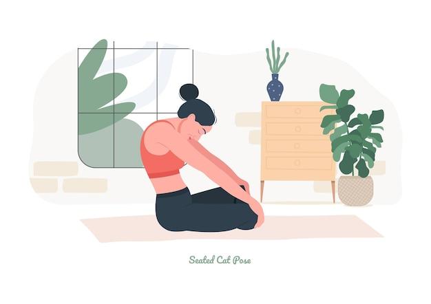 Zittende kat yoga pose jonge vrouw die yoga-oefening beoefent